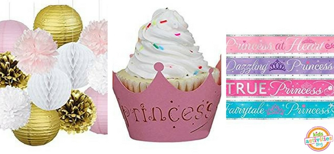 Princess Party Ideas - PomPoms, Cupcake Holder, Sashes