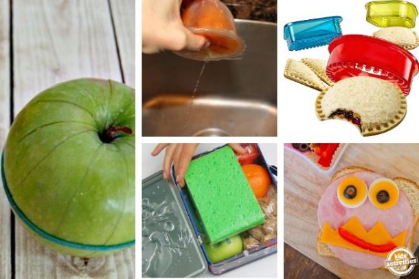 collage of food hacks for kids and lunch ideas for school