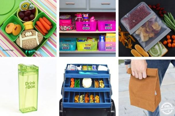 collage of lunch box hacks and kids lunch ideas