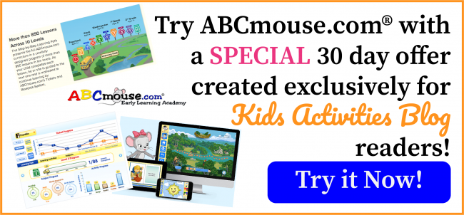 Try ABCmouse.com for 30 days with an exclusive special for Kids Activities Blog readers!