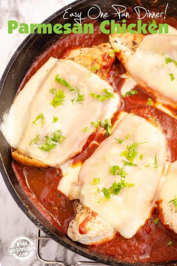Parmesan Chicken Recipe in a cast iron skillet
