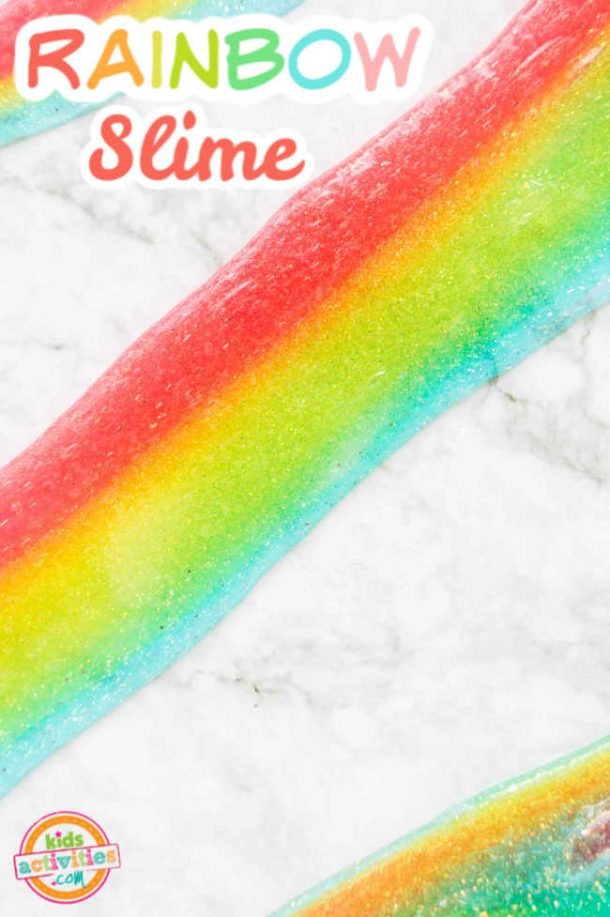 colorful Rainbow slime displayed on a marble background
