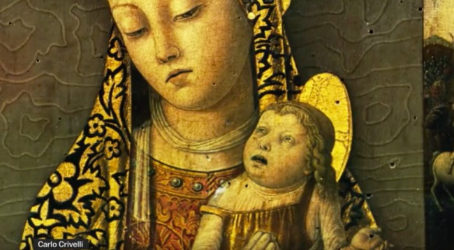 screenshot of medieval painting with baby with super defined features