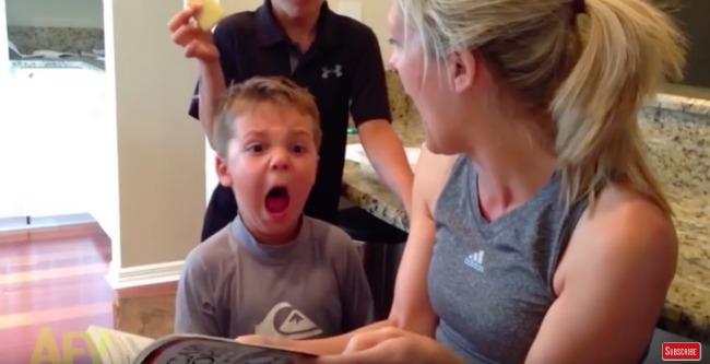 boy screams at mom reading book scary story screenshot from video