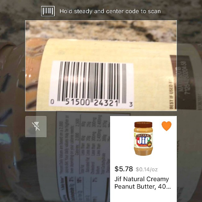 walmart bar code scanner in grocery app