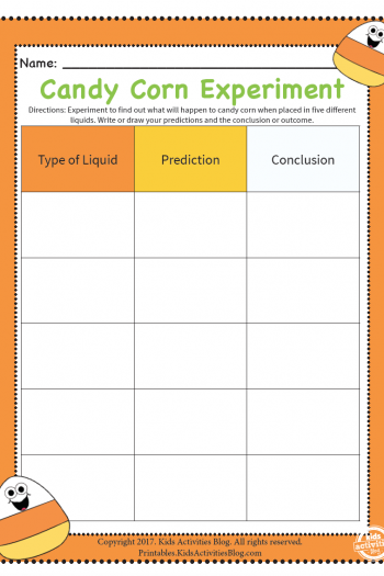 candy corn experiment sheet