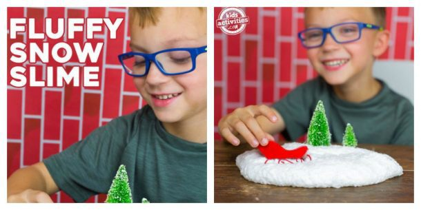 white slime aka snow slime with green trees and red sleds
