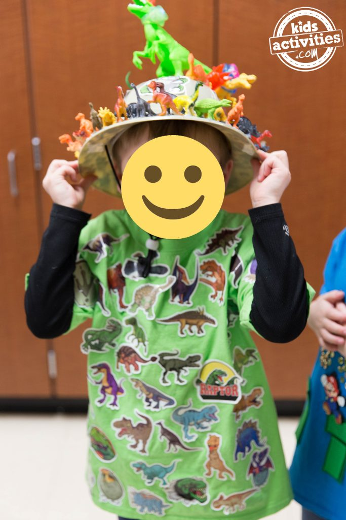 100th day of school project - 100 dinosaurs on child hat and shirt