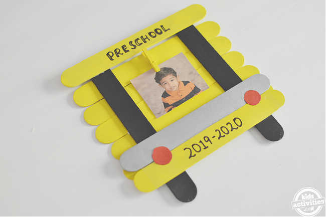 school bus photo frame diy shown on a white background in 45 degree angle