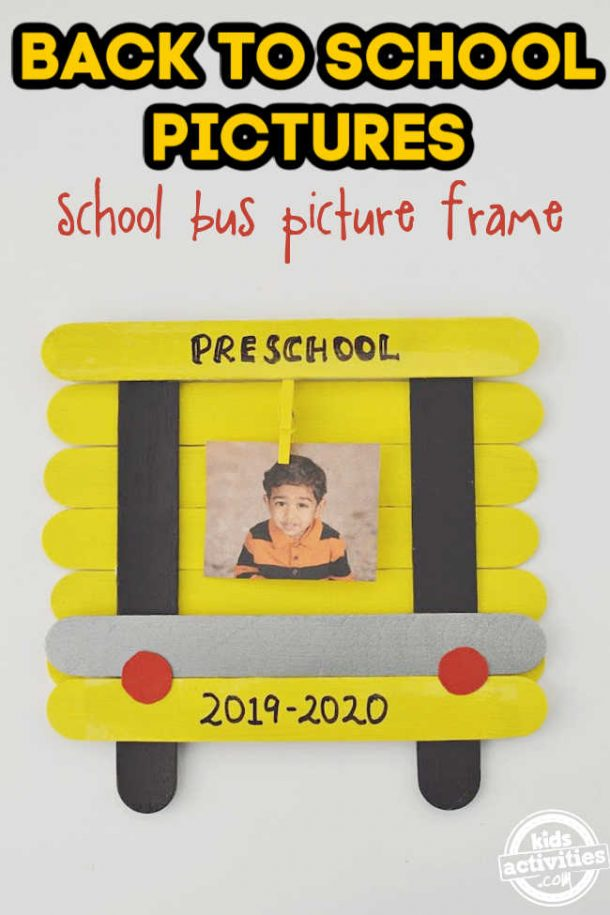 diy School bus pictures frame with photo shown on a white background for back to school pictures