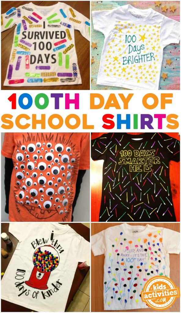 100th Day of School Shirt Ideas for Kids - six examples shown like I survived 100 days shirt with bandaids 100 days brighter, 100 eyeballs and gumball shirt
