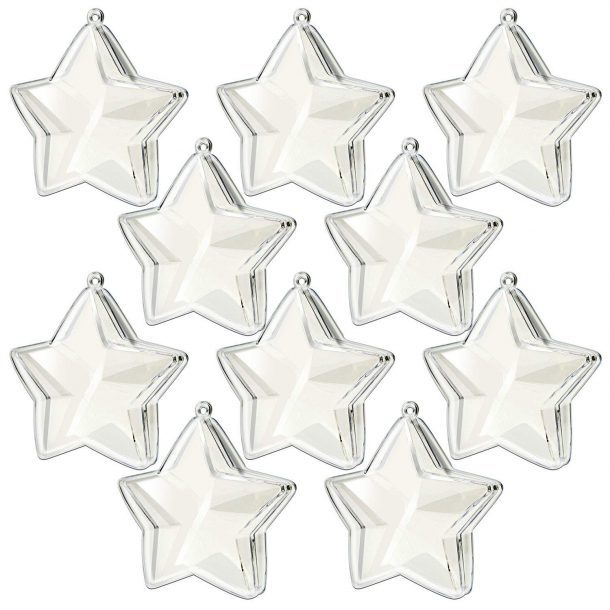 Clear Plastic Acrylic Fill-Able Snap-On Star