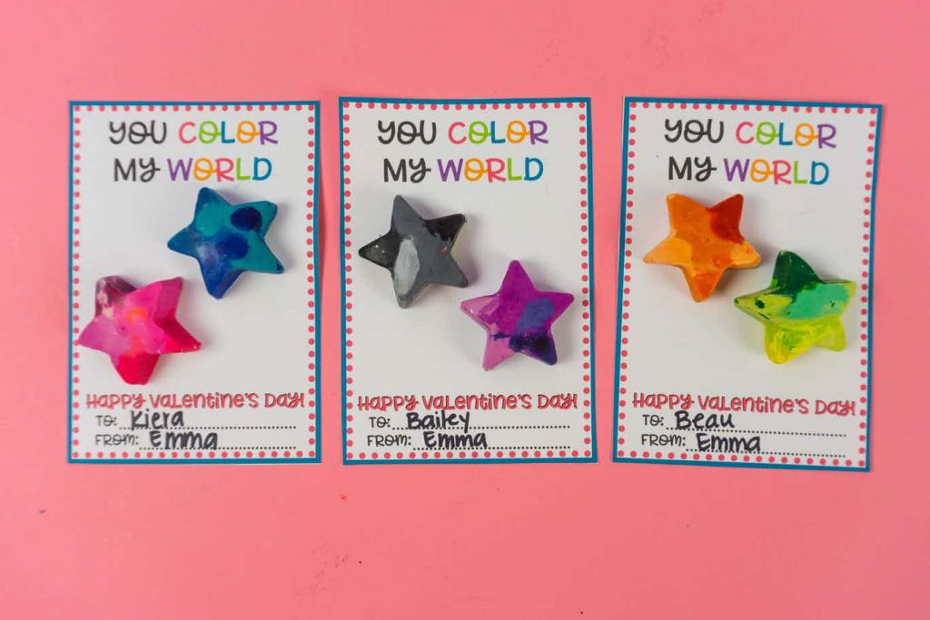 Crayon printable valentine's with galaxy crayons on them.
