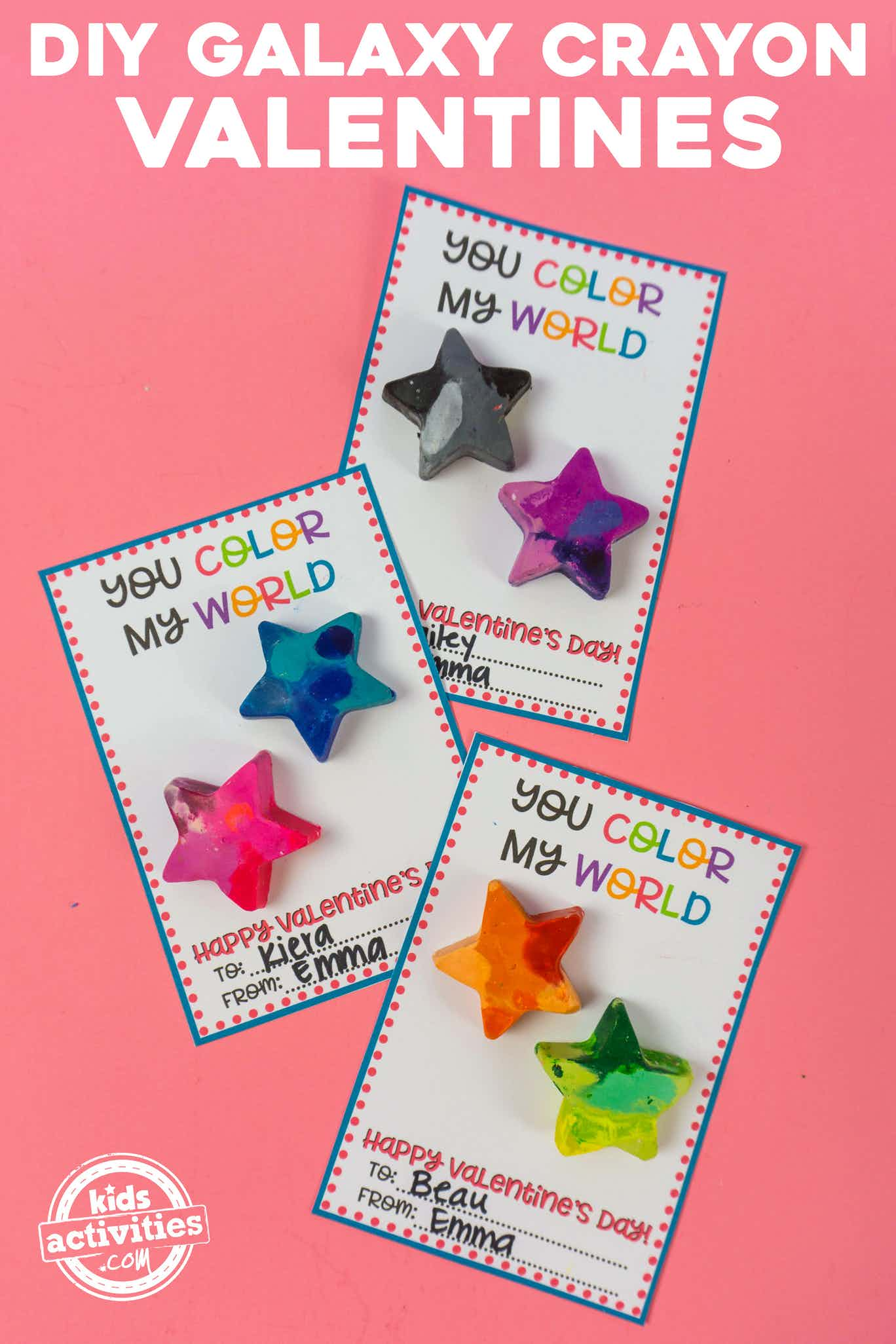 DIY Galaxy Crayon Valentines for Kids You Color My World