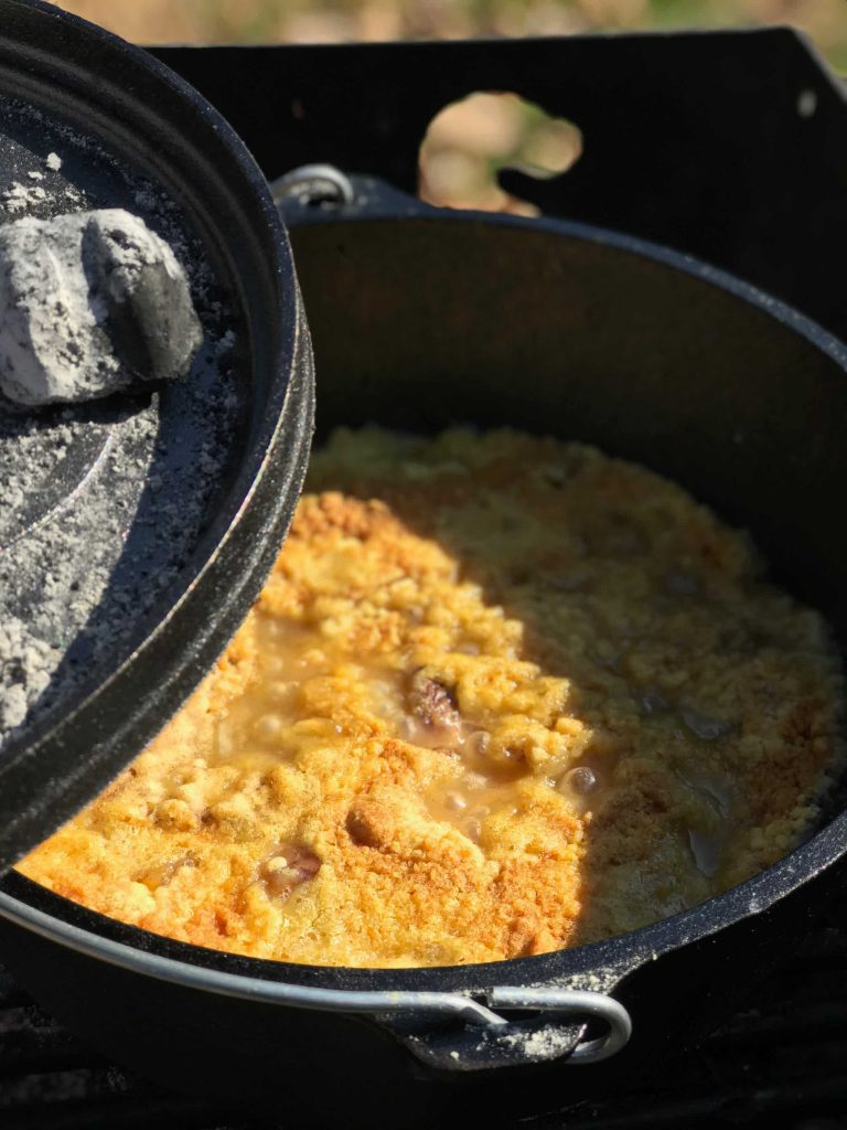Dutch Oven Peach Cobbler In Dutch Oven