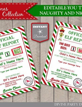 Elf Shelf Printables Naught Nice Cards