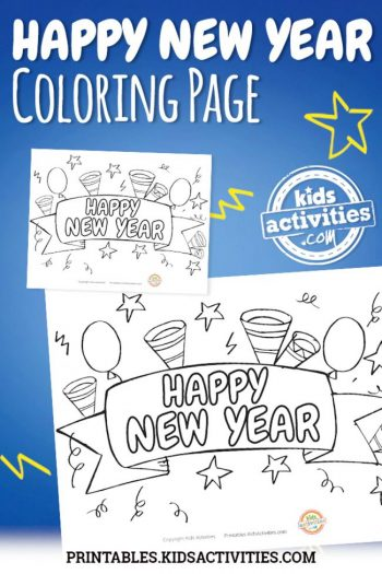 Happy New Year Coloring Page feature