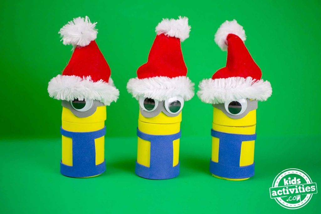 Minions Holiday Treat Boxes Completed With Santa Hats