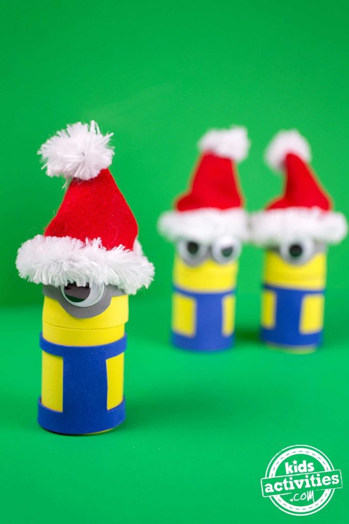 Minions Holiday Treat Boxes Completed With Santa Hats Close Up