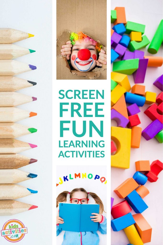 Screen-Free Fun Learning Activities like coloring, reading, pretend play, blocks.