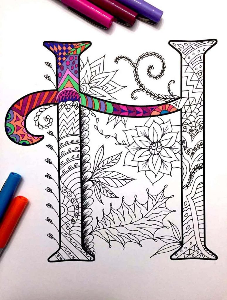 alphabet zentangles coloring pages letter H