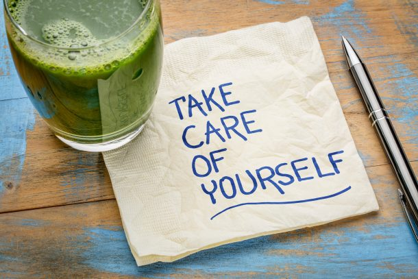 How To Be More Patient With Your Kids - text - Take Care of Yourself - green smoothie with journal and pen