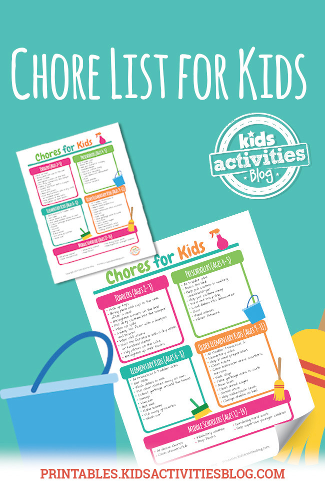 Printable Chore List For Kids By Age
