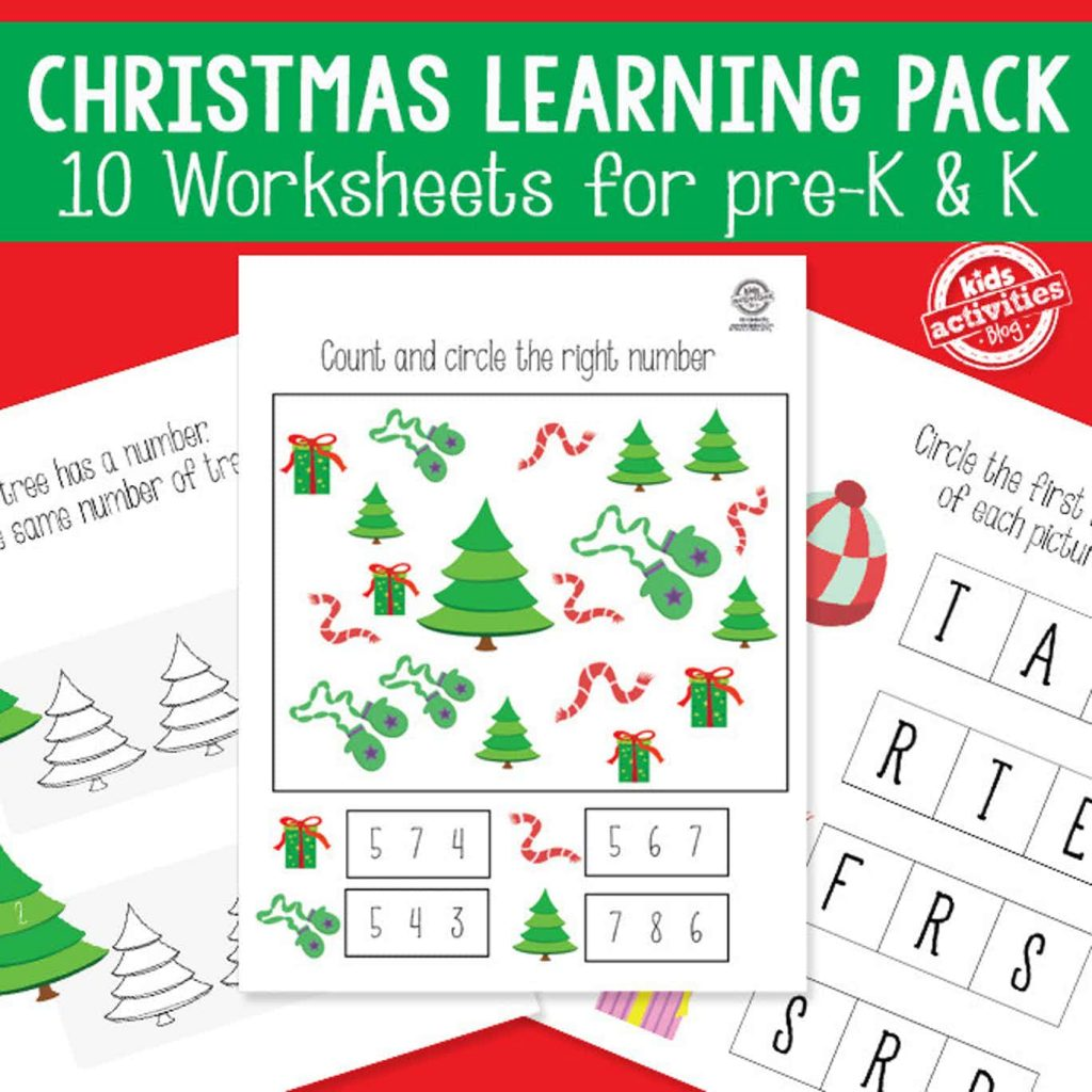 christmas worksheet activity packet - 10 worksheets for pre-k and kindergarten themed christmas
