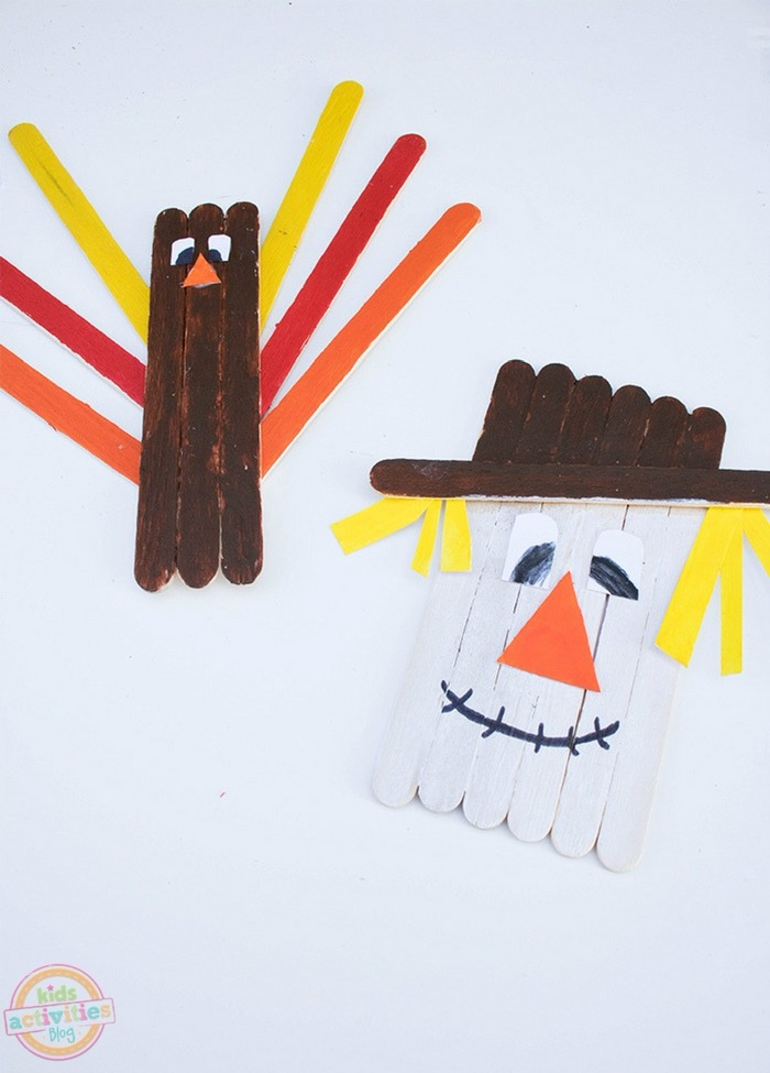 Easy & Cute Fall Popsicle Stick Crafts: Popsicle Stick Scarecrow & Turkey