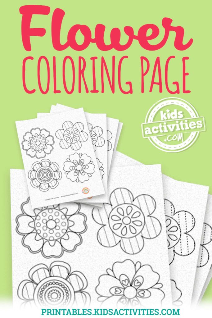 flower coloring page for spring printable for kids