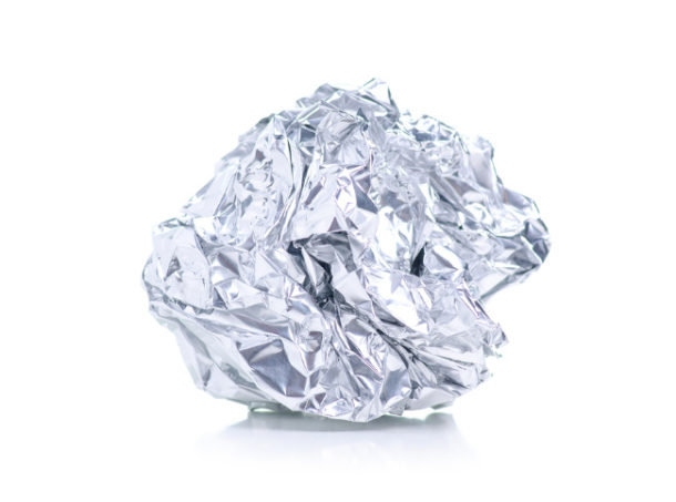 Dryer balls made from aluminum foil crumpled