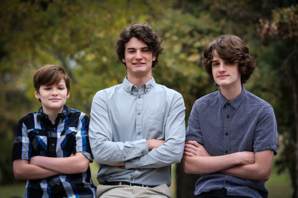 Three boys homeschooled with partner