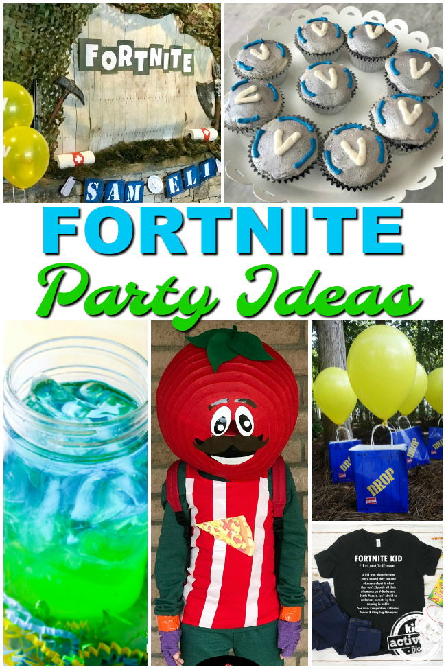 Fortnite Birthday Party Ideas with fortnight logo, drinks, characters, gift bags, and shirts.
