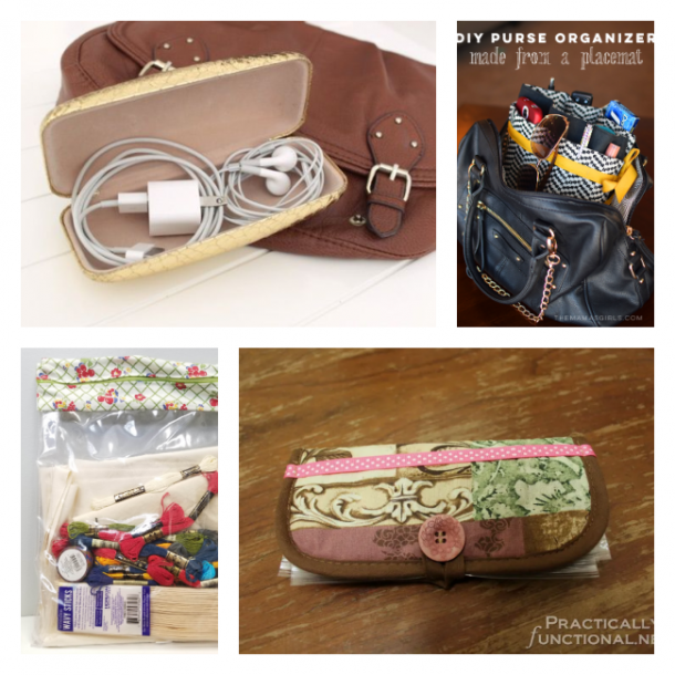 Organizing purses with glasses cases, pot holders, plastic bags, and DIY purse organizers.