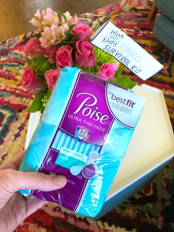 Poise Ultra-Thin Pads at Bunco game