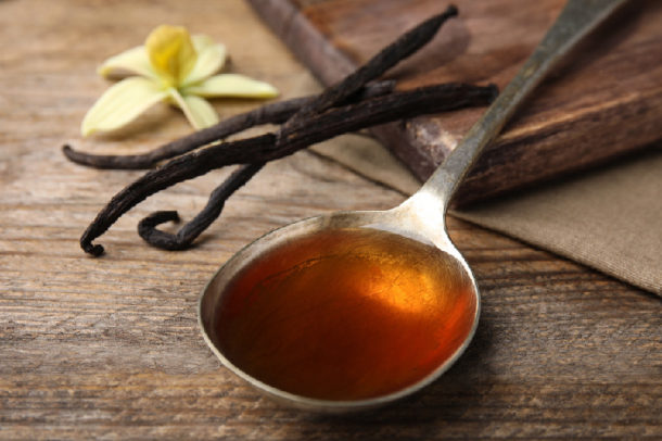 Pure vanilla extract in spoon