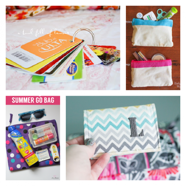 Purse storage ideas using key rings, pencils pouches, and personalized wallets
