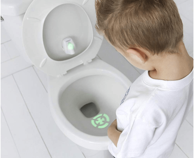Kids like using the potty training target bullseye because it makes potty training a game