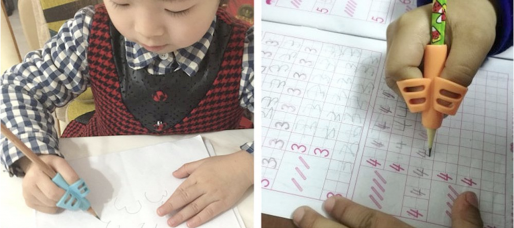 students using Pencil Grip writing tool in the classroom and worksheet being filled in with pencil Grip pencil
