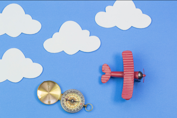 How to Make a Compass at Home - Easy Science from Kids Activities Blog - paper plane flying over compass