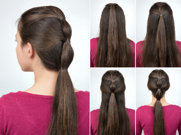 Sectioned Ponytails for Braided Look Step by Step directions