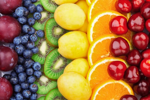 Substitute for food coloring using fruits and vegetables like plums, blueberries, kiwi, lemons, oranges, and cherries