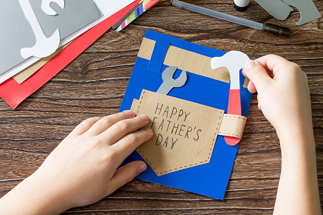 Homemade paper card for Dad to celebrate Father's Day