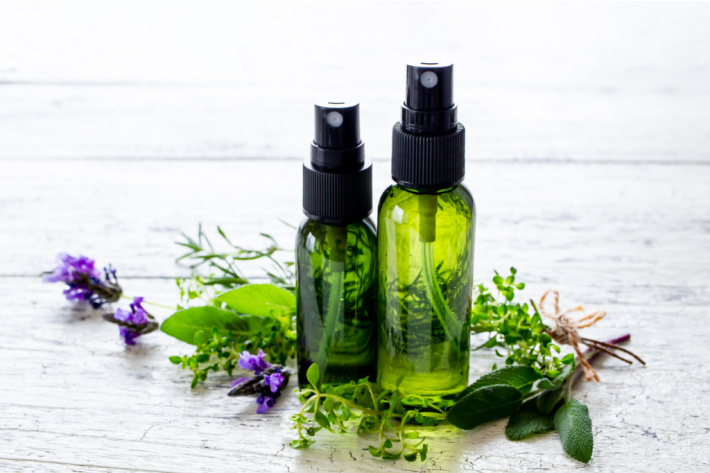 make an essential oil foot spray - Kids Activities Blog - glass bottles used for DIY remedy