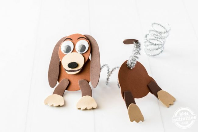 Slinky Dog character from Toy Story made by kids and positioned on a white background to show how he can stretch