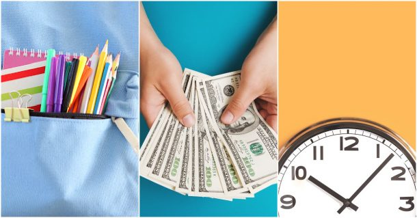 Back to school shopping with notebooks pencils, money, and time.