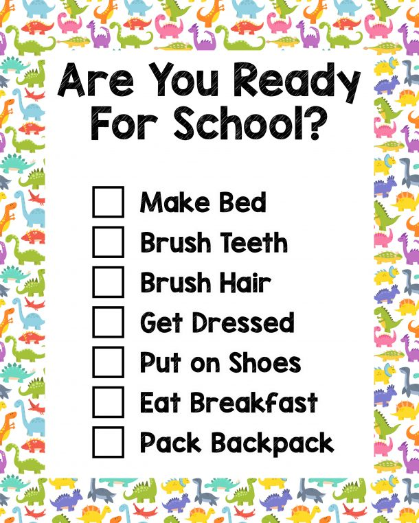 Are you ready for school checklist that has a list of items that need to be completed in the morning, along with a dinosaur border.