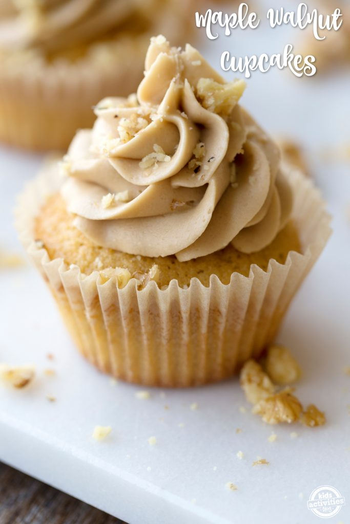 A sweet treat that your family will love! This maple walnut cupcake is perfect
