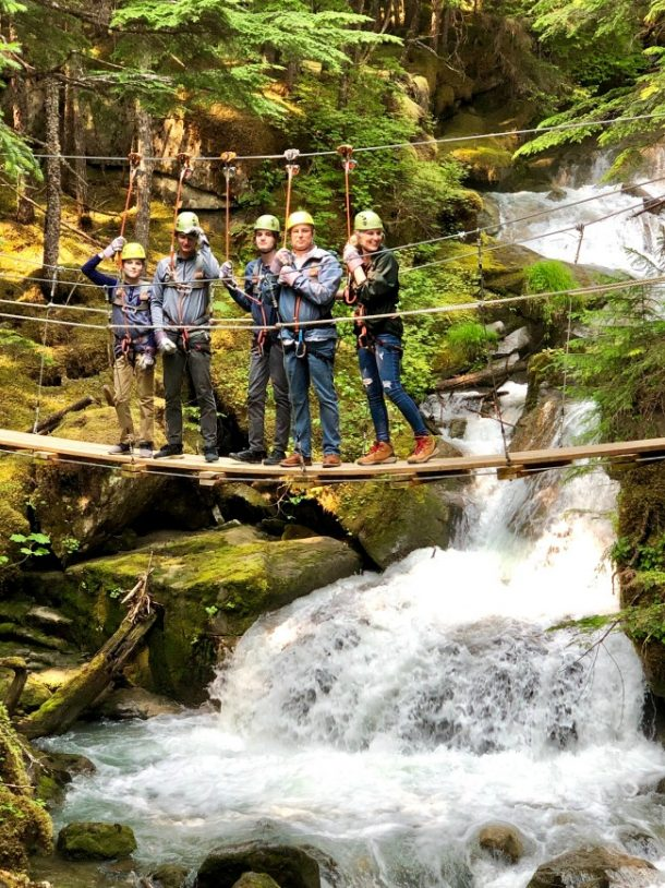 Traveling with Invisalign - family ziplining in Alaska