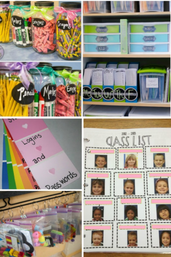 Classroom organization ideas with a class list, binders, pins, and hangers.
